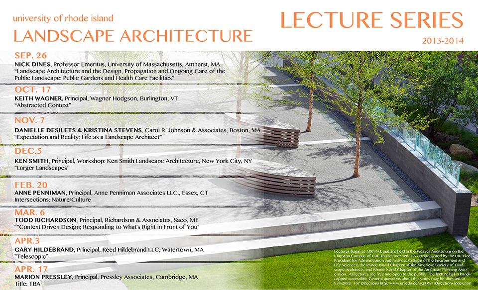 Landscape architecture lecture series at uri rhode for Society of landscape architects