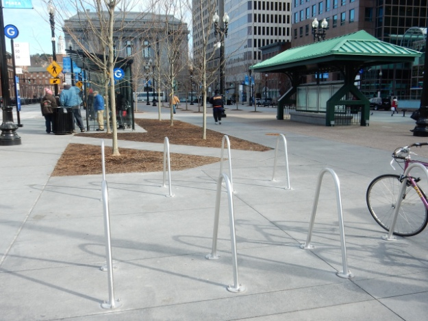 New bicycle racks at Kennedy Plaza, in Providence. (Photo by David Brussat)